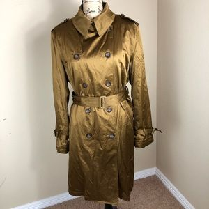 Dana Buchman Gold Double Breast Trench Coat NWT XL